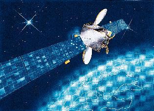 Kresba družice CESA SAT na stacionární dráze