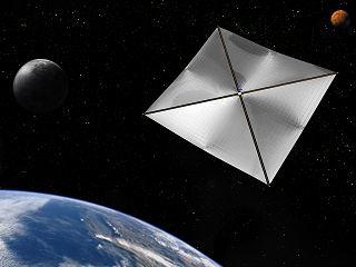 Ilustrační kresba sluneční plachetnice (zdroj: NASA)