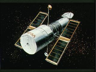 Hubblův dalekohled v kresbě malíře NASA