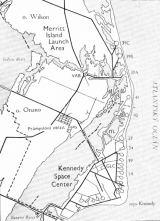 Mapka oblasti Merrit Island Launch Area