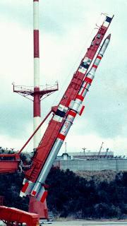 Lambda-4S na rampě v Kagošimě (11.02.1970)