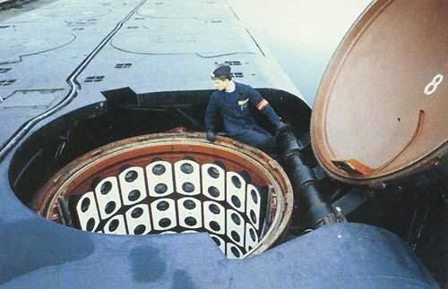 Silo rakety Shtil na atomové ponorce