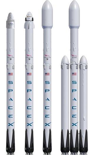 Kresba různých variant rakety Falcon 9 a Falcon Heavy
