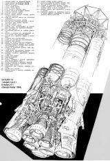 SATURN IA - 1. stupeň, typ C1, 8 motorů H1 (schématický nákres z časopisu Radar roč.1964)