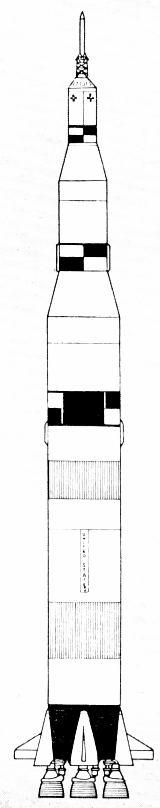 Schématický nákres nosné rakety Saturn 5