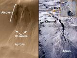 """Foto 10: Příklad """"vodního pramene"""" na úbočích marsovských kráterů (od zdroje je korytem materiál """"odnesen"""" do údolí kráteru)."""