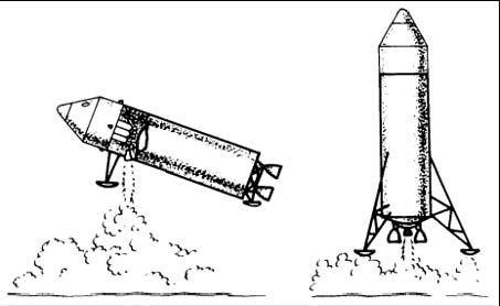 Pôvodné predstavy o pristávaní na povrchu Mesiaca - vertikálne, alebo horizontálne