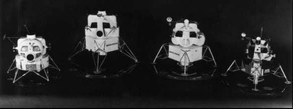 Vývoj LM - úplne vľavo pôvodný návrh, vpravo model skutočného LM. Medzi nimi dve prechodné verzie z rokov 1963 - 64.