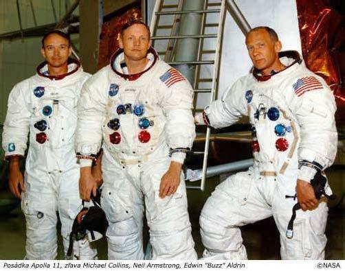 """Posádka Apolla 11, zleva Michael Collins, Neil Armstrong, Edwin """"Buzz"""" Aldrin"""