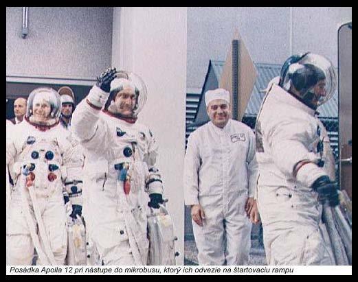 Posádka Apolla 12 pri nástupe do mikrobusu, ktorý ich odvezie na štartovaciu rampu