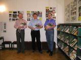 Trojice hlavních autorů výstavy - zleva: V.Plachý, M.Halousek, T.Přibyl (10.1.2003)
