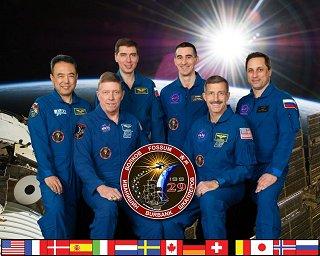 Expedice 29 (zleva: Furukawa, Fossum, Volkov,, Ivanišin, Burbank, Škaplerov)