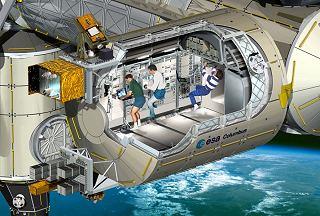 Řez modulem Columbus připojeným ke stanici ISS