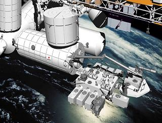 Kresba modulu Kibo u stanice ISS