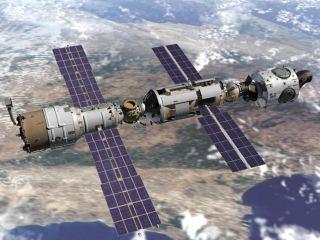 Kresba modulu Zvezda (vlevo) po připojení k zárodku ISS