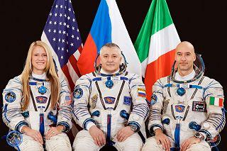 Posádka Sojuzu TMA-09M (zleva:  Nybergová, Jurčichin, Parmitano)