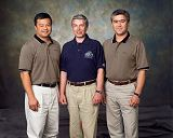 Posádka Sojuzu TMA-5 (zleva: Chiao, Šargin, Šaripov)