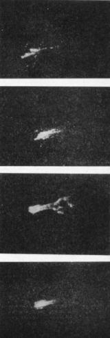 Vstup velitelské sekce do hustých vrstev atmosféry (pořadí snímků shora dolů). Záběry byly pořízeny z letadla, letícího ve výšce 10 000 m, kamerou se 70 mm objektivem. Od rozžhaveného povrchu sekce se oddělují drobné částečky ablativního materiálu z tepelného štítu.