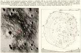 Vlevo detail východní poloviny kráteru o průměru 200 m, na jehož svahu stojí Surveyor 3 (vyznačen bílým trojúhelníčkem ve správném měřítku) (Pozn.M.F.-zvýrazněno červeným zakroužkováním). Snímek Lunar Orbiter 3. Vpravo vrstevnicová mapka a profil kráteru s vyznačenou polohou Surveyoru 3 (S). Kóty jsou počítány v metrech od nejnižšího bodu kráteru. Čárkovaně je zakreslena čára obzoru televizní kamery Surveyoru. Černé body a plošky značí balvany větší než 0,7 m