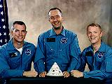Posádka Apolla 9 (zleva Scott, McDivitt a Schweickart)