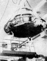 Velitelská sekce kosmické lodi Apollo (výrobní číslo 101), ve které mají v září vzlétnout kosmonauti W. M. Schirra, D. F. Eisele a W. Cunningham na oběžnou dráhu kolem Země
