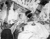 Umístění kosmonautů ve velitelské sekci kosmické lodi Apollo