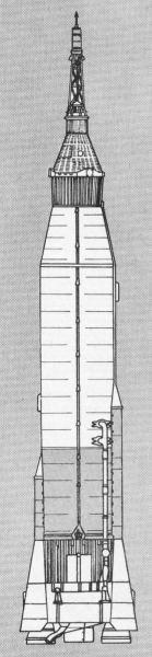 Atlas Mercury – schématický nákres nosné rakety