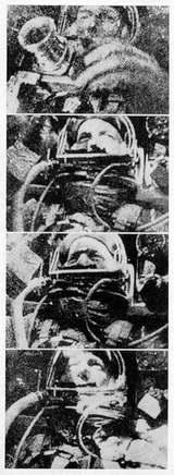 Leroy Gordon Cooper během kosmického letu v kabině kosmické lodi Mercury