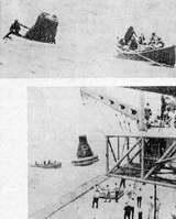 """Kabina kosmické lodi Mercury MA-9 ,,Faith 7,, byla po přistání zajištěna nafukovacím límcem a vyzvednuta na palubu letadlové lodi """"Kearsarge"""""""