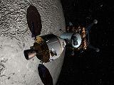 Kosmická loď Orion s lunárním modulem LSAM u Měsíce