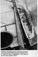Odlepení grafitoepoxidové voštinové struktury na pravé gondole OMS způsobilo přehřátí tohoto místa při startu raketoplánu; dole vlevo je patrná tryska systému RCS