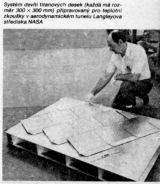 Systém devíti titanových desek (každá má rozměr 300 x 300 mm) připravovaný pro teplotní zkoušky v aerodynamickém tunelu Langleyova střediska NASA
