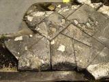 Snímek nalezených dlaždic tepelné ochrany z levého křídla poblíž podvozkové šachty