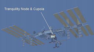 Umístění modulu Tranquility/Cupola v rámci stanice ISS