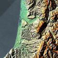Část Nového Zélandu - Karamea Bight - ze SRTM (13.02.2000)