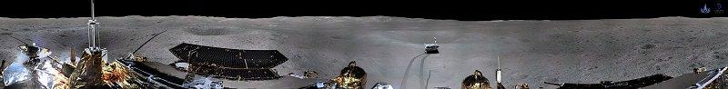 Panorama Měsíce v okolí přistání sondy Change 4  (leden 2019)