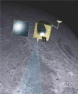 Kresba sondy Chandrayaan-1 u Měsíce