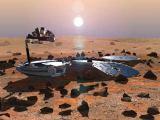 Modul Beagle 2 na povrchu Marsu (kresba)