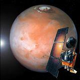 Kresba sondy Mars Climate Orbiter u Marsu