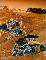 Kresba sondy MPF a vozidla Sojourner na povrchu Marsu