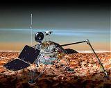 Kresba sondy Mars Polar Lander na povrchu Marsu