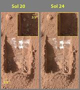 Porovnání dvou snímků výkopu Dodo-Goldilocks mezi soly 20 a 24 (20.06.2008)